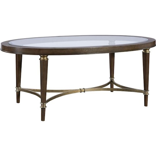 Broyhill Furniture Kirsten Oval Cocktail Table with Glass Top