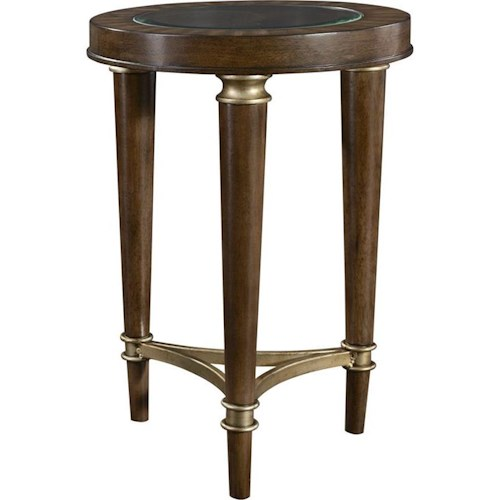 Broyhill Furniture Kirsten Round Chairside Chest with Glass Top