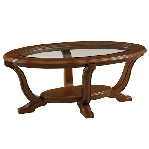 Broyhill Furniture Lana Oval Cocktail Table with Glass Top Insert