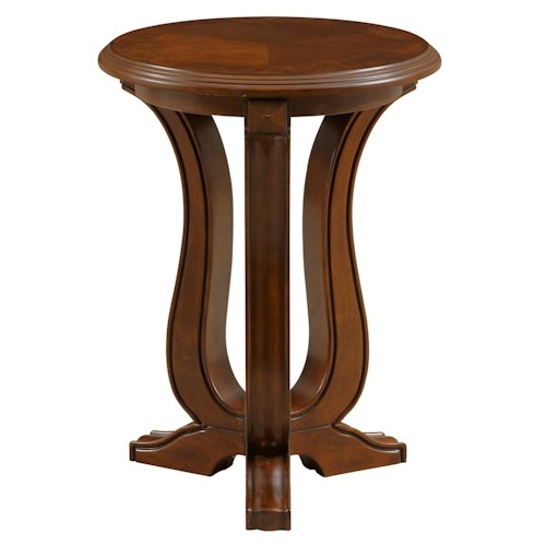 Broyhill Furniture Lana Round Chairside Table with Shaped Pedestal