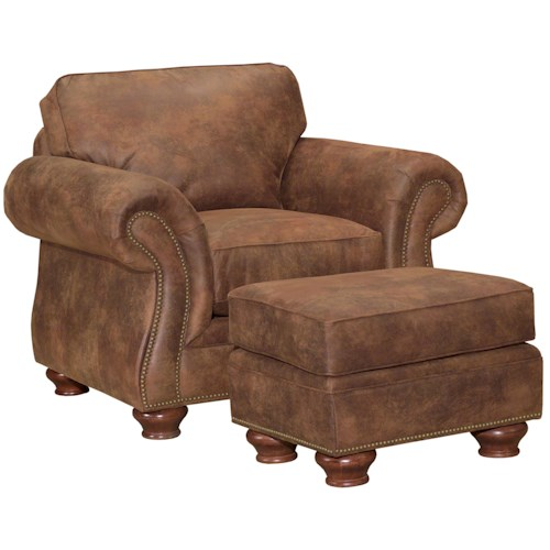 Broyhill Furniture Laramie Chair and Ottoman Set w/ Nail Head Trim