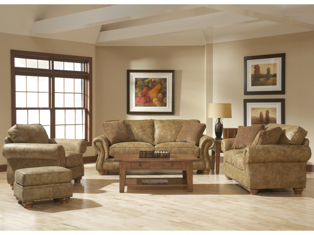 Shown in Room Setting with Ottoman, Sofa, and Loveseat