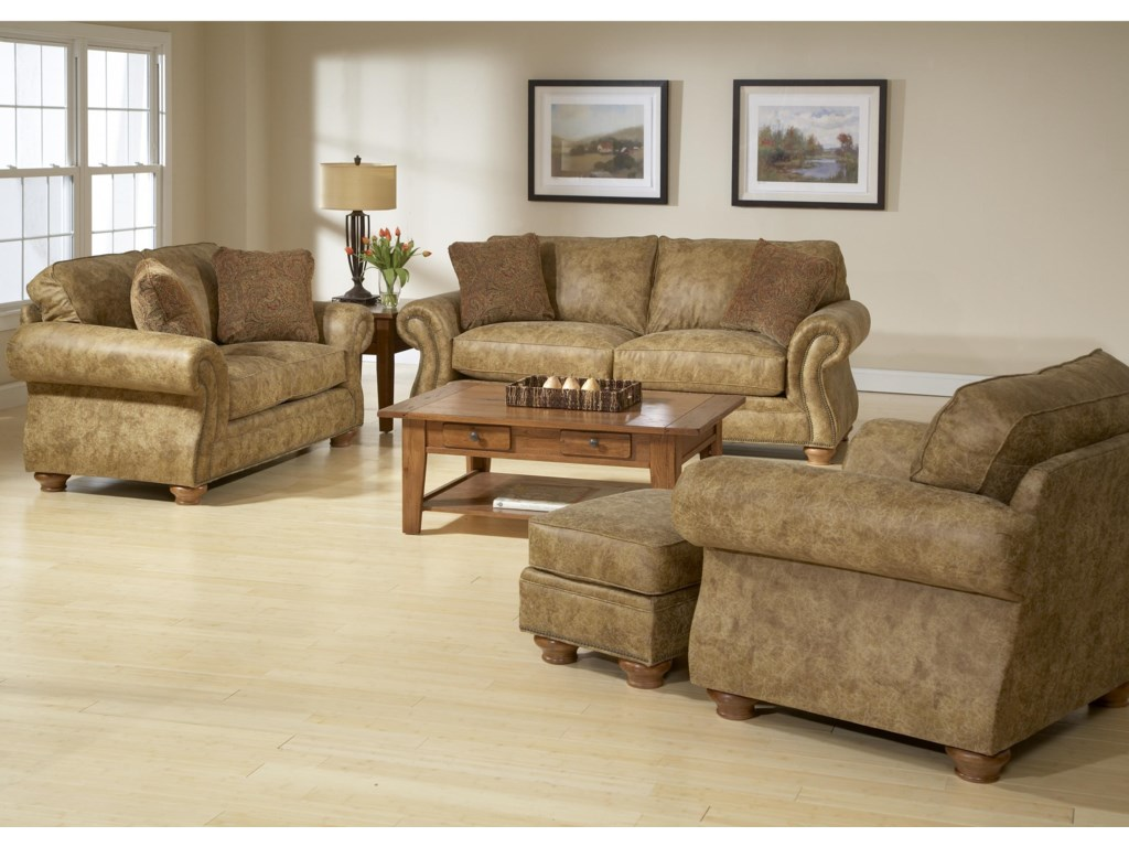 Shown in Room Setting with Loveseat, Sofa, and Ottoman