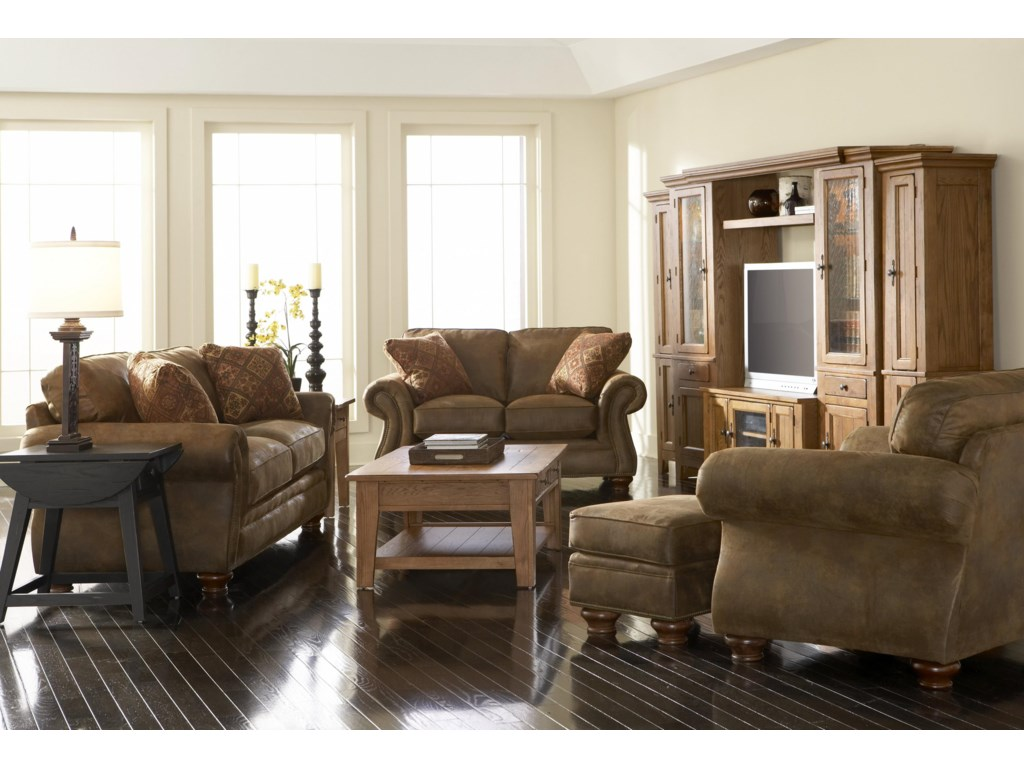 Shown in Room Setting with Loveseat, Ottoman, and Chair
