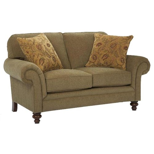Broyhill Furniture Larissa Upholstered Stationary Loveseat with Rolled Arms