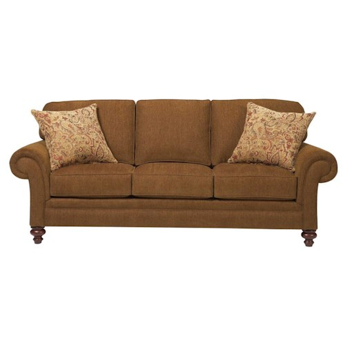 Broyhill Furniture Larissa Upholstered Stationary Sofa with Rolled Arms