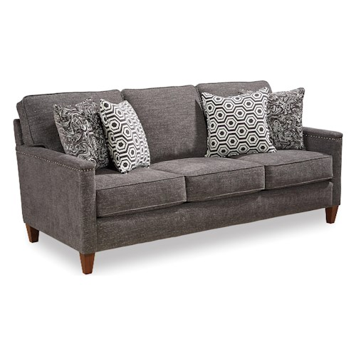 Broyhill Furniture Lawson Contemporary Sofa with Track Arms and Nailhead Trim