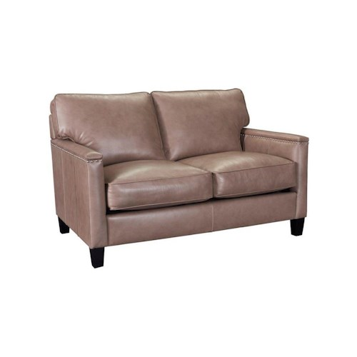 Broyhill Furniture Lawson Contemporary Loveseat with Track Arms and Nailhead Trim