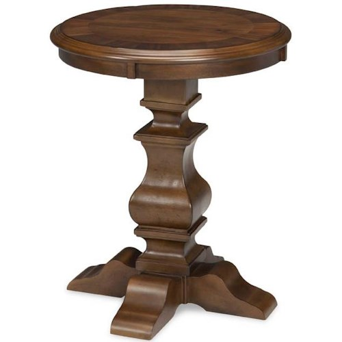 Broyhill Furniture Lyla Round Lamp Table with Turned Pedestal