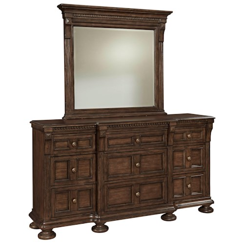 Broyhill Furniture Lyla Drawer Dresser and Landscape Mirror Set