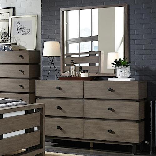 Broyhill Furniture Moreland Ave Strata Studio 54 Dresser and Dresser Mirror Combo