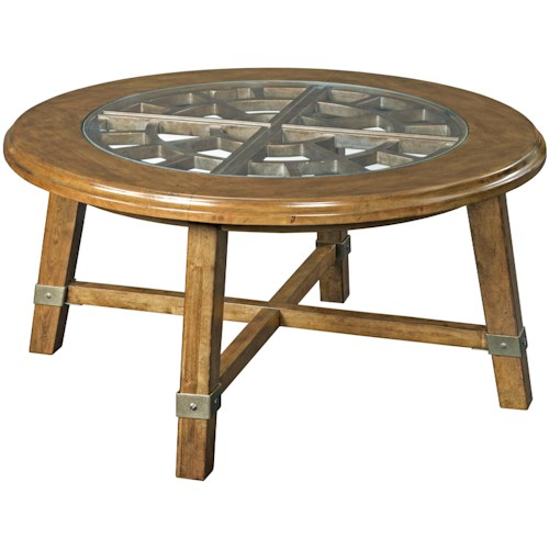 Broyhill Furniture New Vintage Round Grid Cocktail Table with Glass Insert