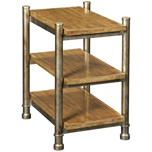 Broyhill Furniture New Vintage Shelf End Table with Metal Posts