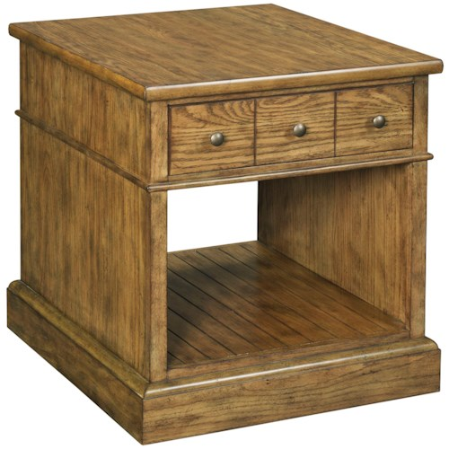 Broyhill Furniture New Vintage Drawer End Table with Sliding Tray