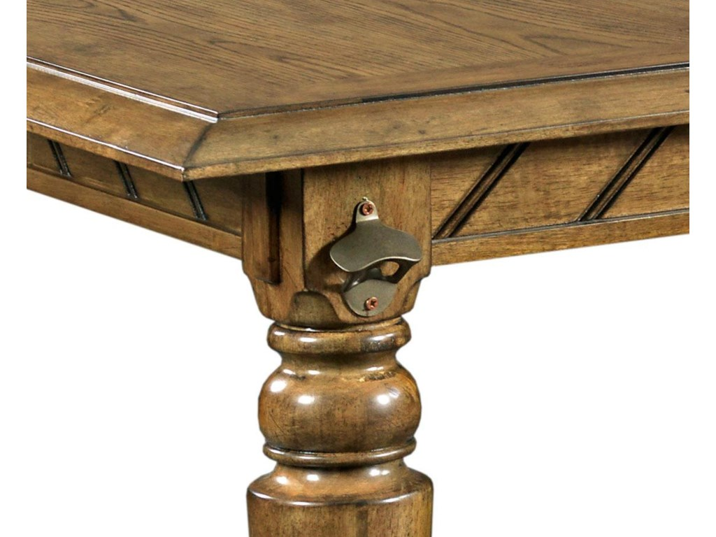 Table Leg Features a Metal Bottle Opener