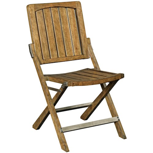 Broyhill Furniture New Vintage Cafe Wood Slat Chair with Metal Stretchers
