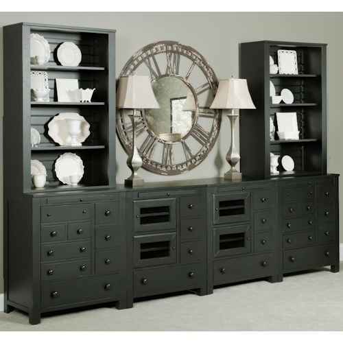 Broyhill Furniture New Vintage Wall Unit with Open and Closed Storage