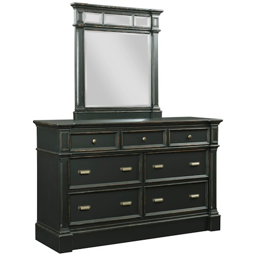 Broyhill Furniture New Vintage 7-Drawer Dresser and Mirror Set