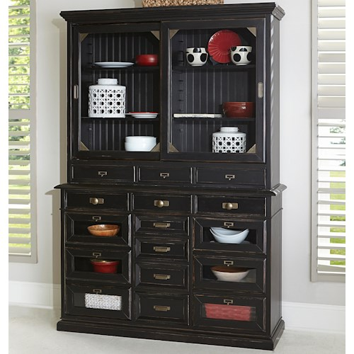 Broyhill Furniture New Vintage Server with Hutch and Sliding Glass Doors