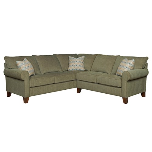 Broyhill Furniture Noda Transitional Sectional Sofa with Rolled Arms