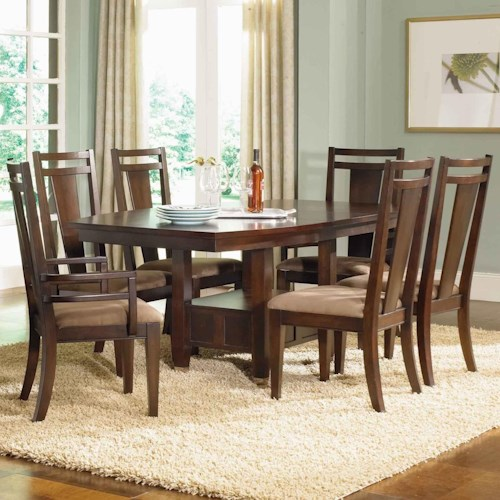 Broyhill Furniture Northern Lights 7 Piece Adjustable Height Table and Upholstered Chair Set