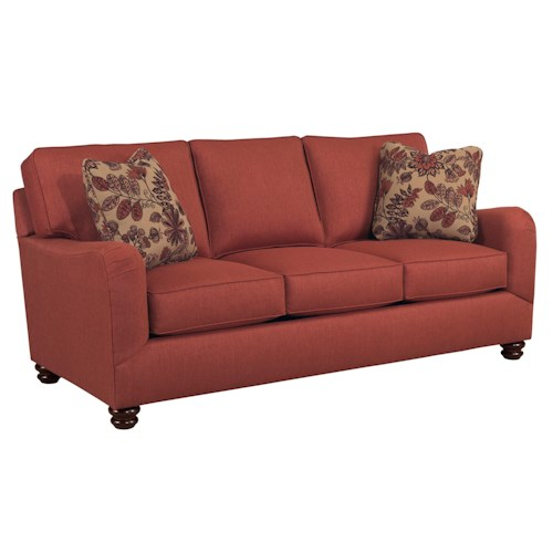 Broyhill Furniture Parker Traditional Sofa with English Arms and Turned Feet