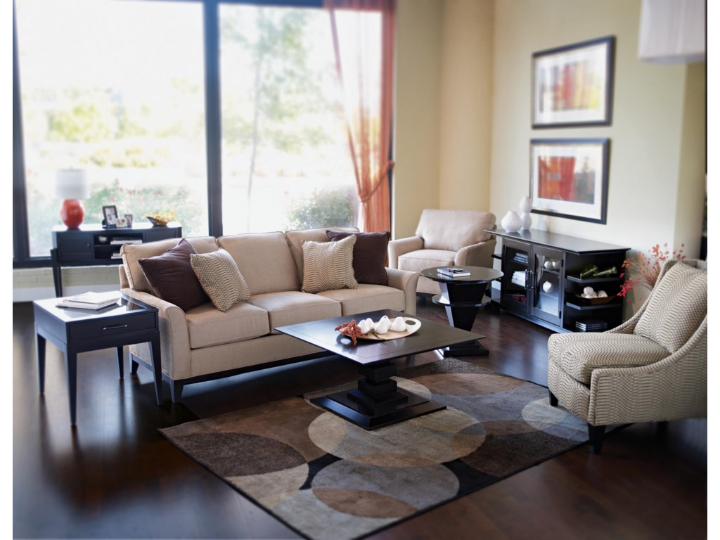 Shown in Room Setting with End Table, Sofa, Cocktail Table, Lamp Table, Entertainment Unit, and Accent Chair