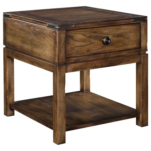 Broyhill Furniture Pike Place 1 Drawer End Table with Open Shelf