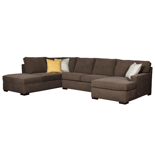 Broyhill Furniture Raphael Contemporary Sectional Sofa with RAF corner Storage Chaise