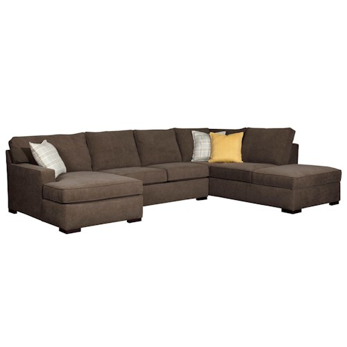 Broyhill Furniture Raphael Contemporary Sectional Sofa with LAF corner Storage Chaise