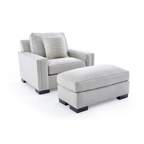 Broyhill Furniture Rocco Chair & 1/2 and Ottoman with Exposed Wood Block Feet