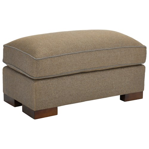 Broyhill Furniture Rocco Ottoman with Exposed Wood Block Feet