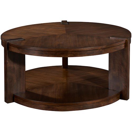 Broyhill Furniture Ryleigh Round Rotating Cocktail Table with Lower Shelf