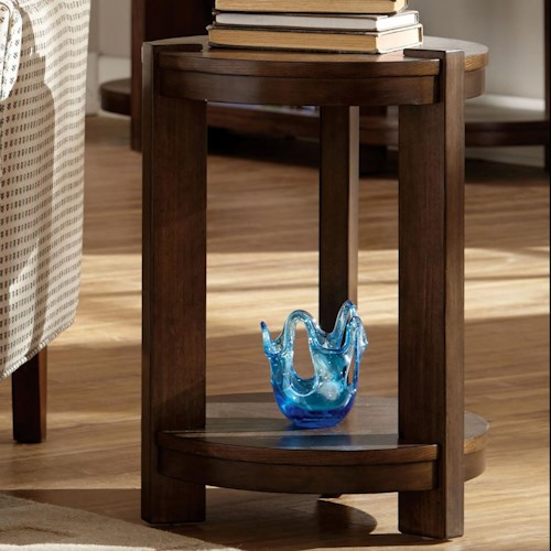Broyhill Furniture Ryleigh Round Chairside Table with Shelf