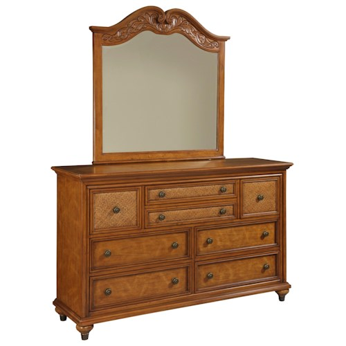 Broyhill Furniture Samana Cove 8 Drawer Dresser & Arched Mirror with Carved Detailing