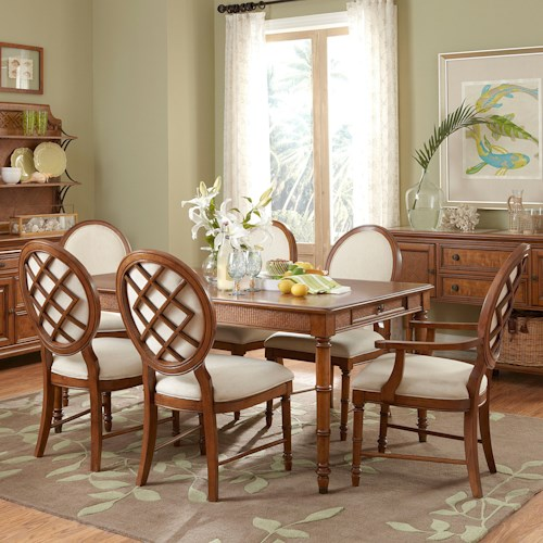 Broyhill Furniture Samana Cove 7 Piece Adjustable Height Leg Table with Upholstered Chairs