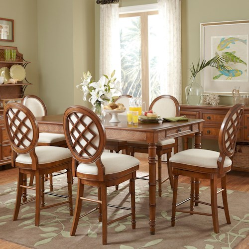 Broyhill Furniture Samana Cove 7 Piece Counter Height Adjustable Height Leg Table with 4 Counter Height Swivel Stools