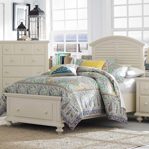Broyhill Furniture Seabrooke Twin Panel Bed with Arched Louvered Headboard and Storage Footboard