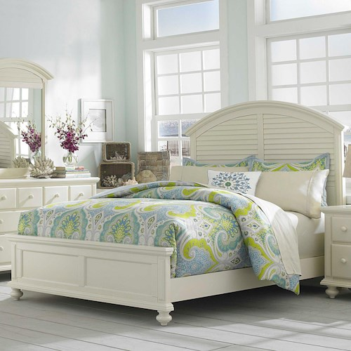 Broyhill Furniture Seabrooke King Panel Bed with Arched Louvered Headboard