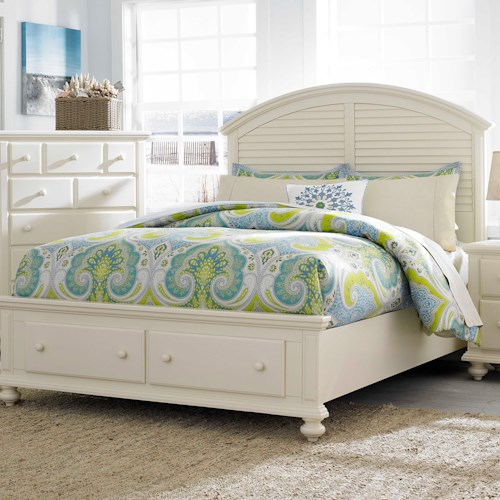 Broyhill Furniture Seabrooke California King Panel Bed with Arched Louvered Headboard and Storage Footboard