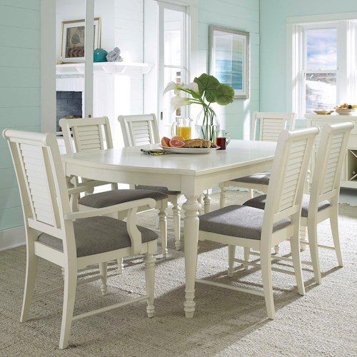 Broyhill Furniture Seabrooke 7 Piece Turned Leg Dining Table and Louvered Back Chairs