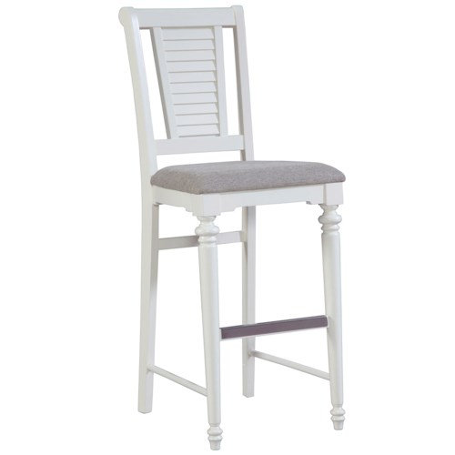 Broyhill Furniture Seabrooke Upholstered Bar Stool with Louvered Back