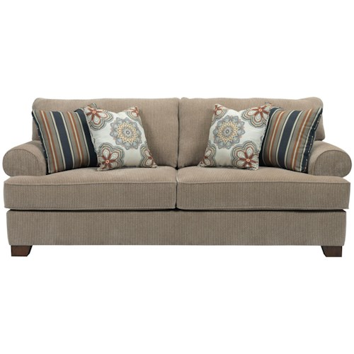 Broyhill Furniture Serenity Queen IREST Sofa Sleeper with Rolled Sock Arms