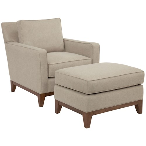 Broyhill designed by GlucksteinHome Suede Quinn Contemporary Chair and Ottoman with Wooden Base Rail