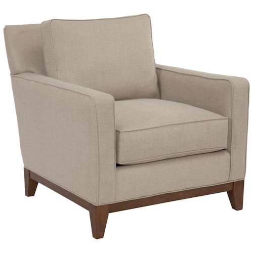 Broyhill designed by GlucksteinHome Suede Quinn Contemporary Chair with Wooden Base Rail