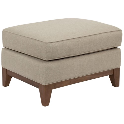 Broyhill designed by GlucksteinHome Suede Quinn Contemporary Ottoman with Wood Base