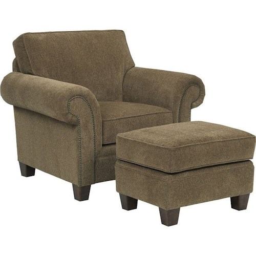 Broyhill Furniture Travis Transitional Upholstered Arm Chair and Ottoman
