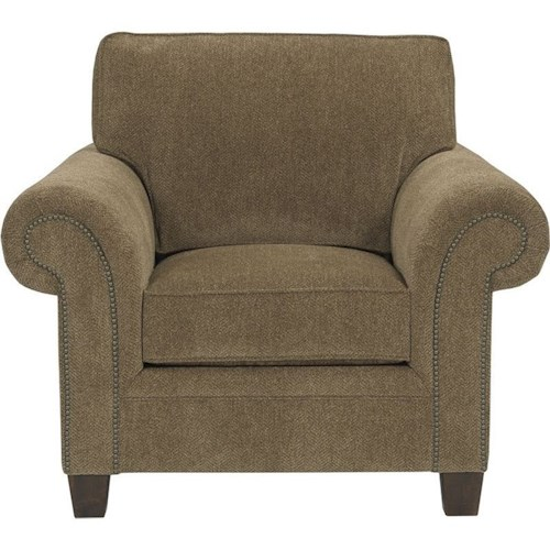 Broyhill Furniture Travis Transitional Upholstered Arm Chair with Rolled Arms