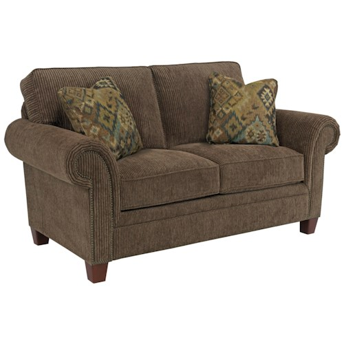 Broyhill Furniture Travis Transitional Loveseat with Rolled Arms and Nail Head Trim Accents