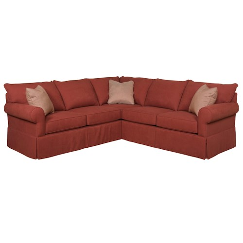 Broyhill Furniture Uptown Traditional Sectional Sofa with Skirted Base and Rolled Arms